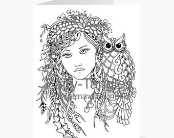 Printable Fairy Tangles Greeting Cards to Color by Norma J Burnell Wild Fairy and Owl for Card Making Coloring Fairy Cards Owl card to color