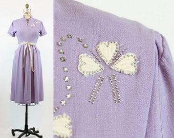 40s Swing Dress Small  / 1950s Vintage  Dress With Pockets / Lovely Lavender Dress
