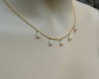 Ethiopian Opal Choker Necklace on Gold