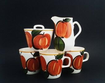 6 Pcs Vera Neumann Orange Pumpkin Lidded Sugar Bowl Creamer Cups Island Worcester Jamaica Vintage Serving Ware