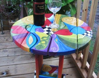 """SMALL SIDE TABLE - Wood table - 20"""" dia. x 21.5"""" h - Table w/shelf - handpainted furniture - garden furniture - puzzle - childrens table"""