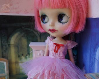 BLYTHE DRESS -  Sweetheart Candy, Flirty Ballerina Tutu Hand-Dyed Silk Dress - Vintage Pink