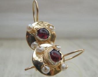 SALE - Deep Red Garnet Earrings, Garnet Pearl Golden Dome Hook Earrings, Garnet Jewelry, Red Gifts, Garnet Birthstone Earrings, Garnet Gifts