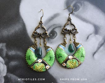 Earrings Portugal Tile  Art Nouveau Art Deco Azulejo GREEN Chandelier - Caldas da Rainha Bordallo Pinheiro Frog Toad Lily Pad