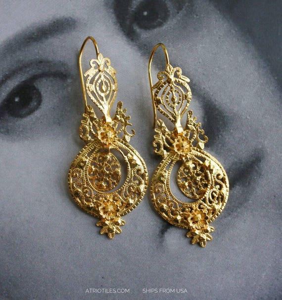Earrings Filigree Silver Portugal  24k Gold Bath Queen's Earrings - Brincos da Rainha  AVEIRO Santa Joana Convent