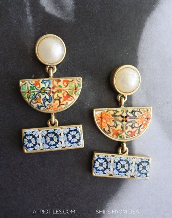 """Earrings Portugal Tile Post Antique Azulejo Tile  AvEIRO Blue and Coimbra 1590 Se - 1 3/4"""" Geometric Ships from USA"""