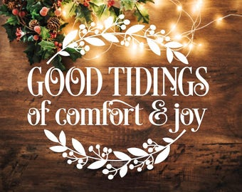 Good Tidings of Comfort and Joy, Sign Decal, Christmas Quote, Joy Decal, Vinyl Letters for Sign, Chalkboard Decal, Christmas Decorations
