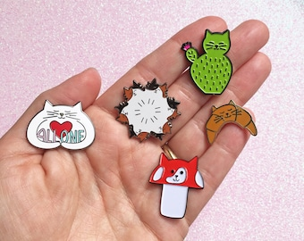 Cat lady gift set - Cat lady pin set of 3, 4 or 5 cute cat pins - Cactus cat, Croissant Cat, All One cat, Fluffy kitties, meowshroom