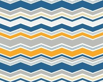 SUMMER SALE - 4 1/2 yards - Little Ark - Chevron in Blue - Sku C3835 - Carina Gardner for Riley Blake Designs