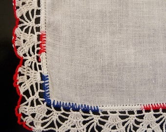 Vintage Linen Hankie Handkerchief Red White Blue Hand Crochet Edge