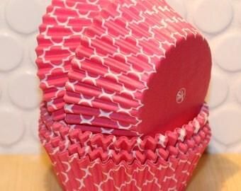 Brite Pink Quatrefoil Cupcake Liners  (Qty 45)  Pink Quatrefoil Cupcake Liners, Pink Quatrefoil Baking Cups, Pink Quatrefoil Cupcake Wrapper