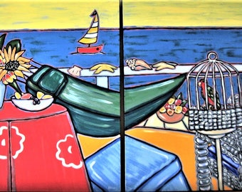 "Original acrylic Beach diptych painting on canvas, 48"" x 60"", beach cottage decor, nautical art, ocean , sailboat, wicker, parrot, birdcage"