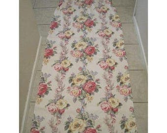 Vintage Barkcloth Roses Curtain Fabric Shabby