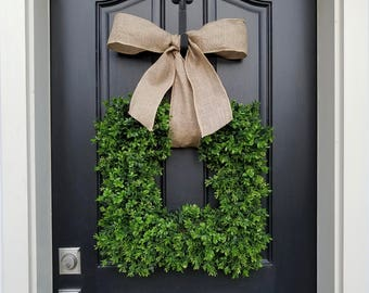 Boxwood Wreath Square, Boxwood Wreath, Door Wreaths, Natural Looking Boxwood Wreath, Artificial Boxwood Wreaths