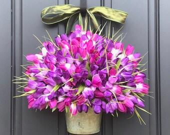 Farmhouse Tulips, Door Wreaths Tulips, Mother's Day Wreath, Easter Wreaths, Easter Tulips, Trending Wreaths, Purple Tulip Wreath