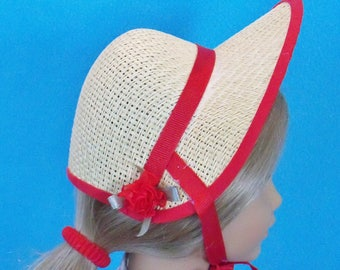 18 inch Doll Poke Bonnet with Red Trim