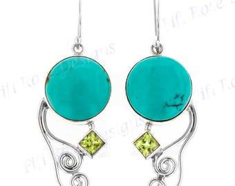 "1 1/4"" Genuine Turquoise Peridot 925 Sterling Silver Earrings"