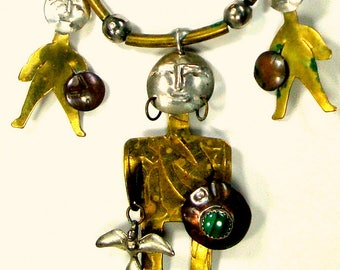 South American Tribal Charm Necklace, Bib of Men Warriors in Mixed Metals on Leather Necklace, Handmade 1980s