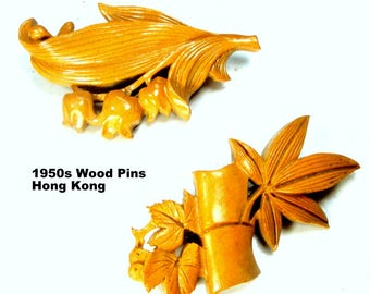 Handcarved Wood Pair of Vintage Pins, 40s 50s  Brooches from Hong Kong, Lacquered Bamboo w Leaves & Lily of the Valley, Maybe Earlier
