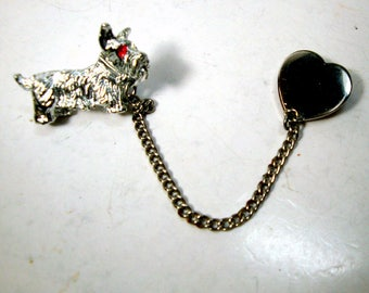 Scottie Dog Valentine Pin, Heart Brooch w Chain Attached to a Scotch Terrier Dog Brooch, Silver Critter .