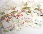 Shabby Chic Jars of Happy Gift Tags~set of 4~hang tags~cream~pink~blue~green~canning jar tags~cottage style