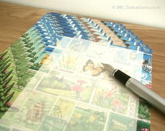 Summer Writing Paper Set | A5 Letter Set, Sunshine Flowers & Butterflies | Postage Stamp Art Penpal Gift, Postal Snail Mail Letter Paper