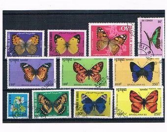 Colourful Butterfly Postage Stamps | vintage butterflies - thematic topical used vintage stamps | papercraft card toppers, upcycle, collect