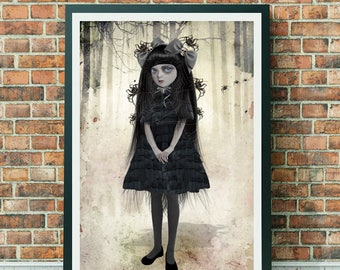Goth Girl Art Print - Goth Girl Art - A3 Art Print - Wall Decor - Goth Girl & Spiders - Arachnophilia