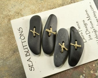 Set of four funky fish toggle shaped natural Maine sea stone buttons for sweaters jewelry or craft