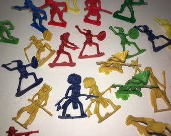 Vintage 34 Plastic Cowboy and Indians Plastic Figurines--Model Trains Plastic People--Various Poses and Colors