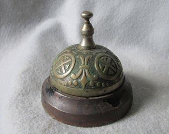 Antique c1874 Hotel or Desk Bell with French Fleur de Lis, Cast Iron
