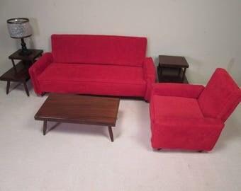 "Vintage Doll Furniture - Hall's Red Upholstered Living Room Set # 215- Complete - For 8"" to 12"" Dolls"