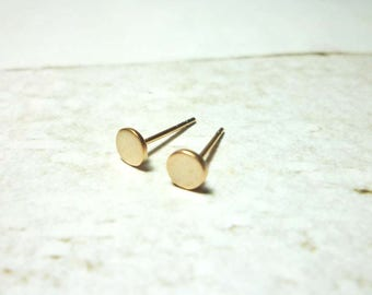Flat Round Stud Earrings, Dainty Dot Earrings