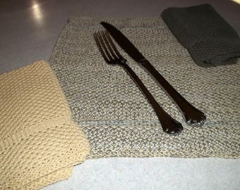 Dishcloths Knit in Cotton in Butter, Pewter and Combo, Washcloth, Napkin, Cotton Dishcloth