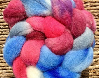 Hand dyed roving, fiber,  felting materials, combed tops, wool, Hand dyed Scottish Down, combed top, Handspinning, Kintyre