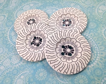 2 inch big buttons - Navy and white wooden sewing buttons