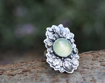 xX 25% SALE Xx Sterling Silver Prehnite Ring, Oxidised Sterling Silver leaf Ring, Rustic Gemstone Metalwork Ring