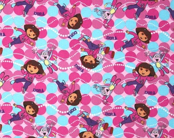 """Dora the Explorer ~ Boots ONE YARD of fabric 100% cotton by the yard 44"""" - 45"""" wide"""
