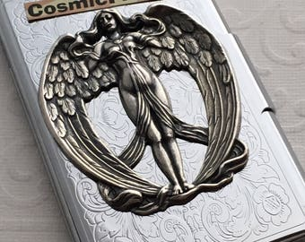 Shiny Silver Plated Angel Business Card Case Steampunk Card Case Gothic Victorian Card Case Metal Card Wallet Angel Wings