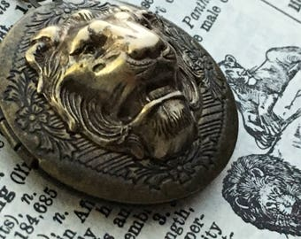 Brass Lion Locket Lion Necklace Antiqued Brass Locket Round Locket Lion Head Vintage Inspired Jewelry Leo Lion Jewelry Women's Locket New
