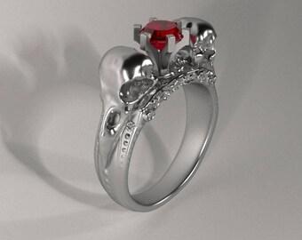 Raven Skull Ring Viking Raven Ring Gothic Ring Skull Ring Skull Wedding Ring Silver Skull Ring Raven Skull Crow Ring Gothic Raven Wedding