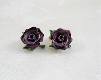 Vintage Purple Flower Clip On Earrings