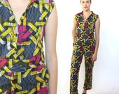 the wildness -- vintage psychedelic african print jumpsuit S