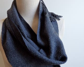 Twill Scarf Handwoven with Black Alpaca/Silk and Charcoal Cotton/Silk Yarns