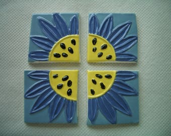 K3 - STAMPED DAISIE Squares - Ceramic Mosaic Tiles