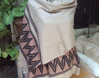 """Vintage boho taupe tan black wool long wrap, made India 72 by 25"""" fringed lightweight wool shawl, Native American look shawl or throw"""