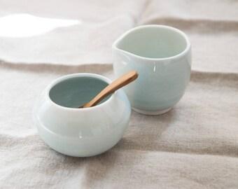 Creamer and sugar bowl set, robin's egg blue, teak spoon, gift for her, coffee lover gift, gift for tea lover, porcelain pottery, creamer
