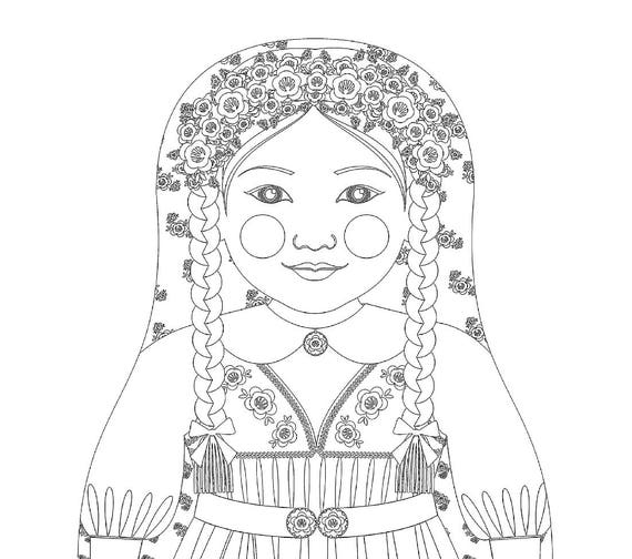 Swedish Doll Traditional Dress Coloring Page Printable Matryoshka