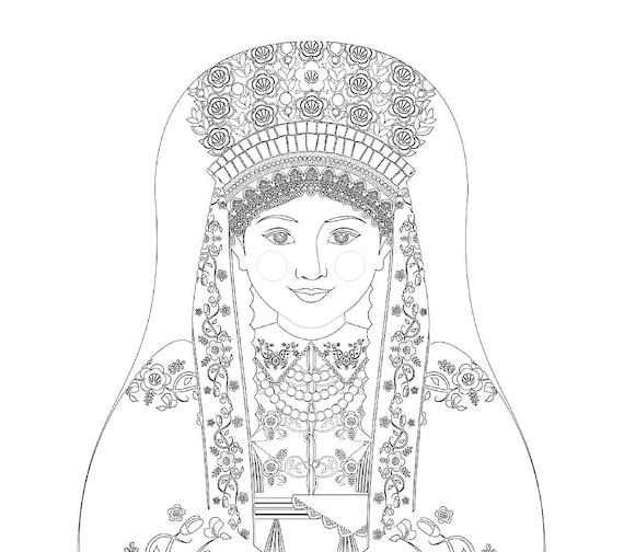 Łowicz Polish Bride Matryoshka Coloring Sheet Printable file