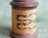 Vintage Turned and Carved Round Wooden Box w/ Lizard Design - Carved and Stained Tribal Design - Handmade Trinket Box from Peru? Australia?